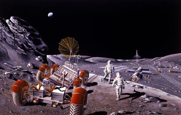 تصور فني لقاعدة على القمر Credit: NASA, via Wikipedia