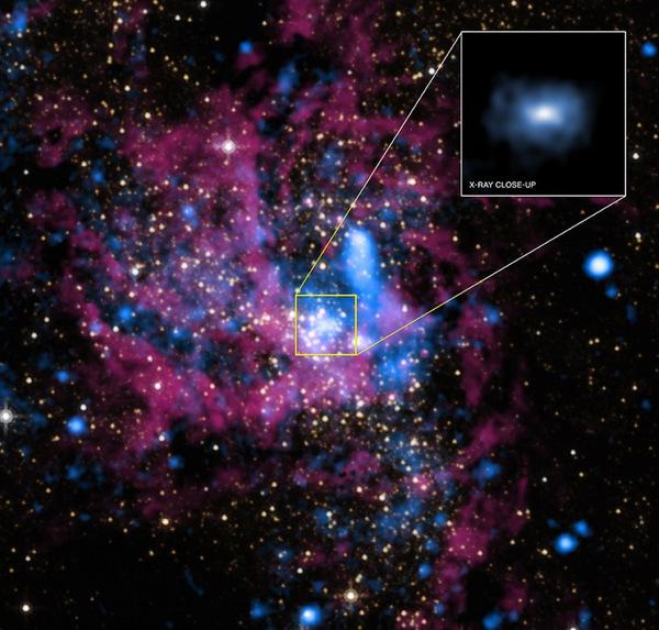 صورة مدمجة للنجم Saggitarius A بالأمواج تحت الحمراء (بالأحمر والأصفر من تلسكوب هبل الفضائي) والأشعة السينية (بالأزرق من تلسكوب تشاندرا الفضائي). المصدر: X-ray: NASA/UMass/D.Wang et al., IR: NASA/STScI
