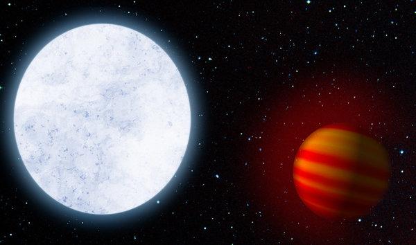 تصور فني للنجم KELT-9 وكوكبه KELT-9b، الذي يُعتبر أكثر الكواكب الخارجية المعروفة حرارةً. حقوق الصورة: MPIA
