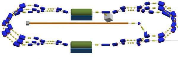 """مخطط لمسرّع """"MESA""""، وفيه تُمثِّل الأسطوانات الخضراء وحدتي تسريع، وبعد دورتين كاملتين، تصل الإلكترونات إلى طاقة تبلغ 150 ميغا إلكترون فولت. Credit: Institute of Nuclear Physics, JGU"""