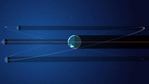 عندما يصطف مدار القمر حول الأرض مع مستوى مدار الأرض حول الشمس، فإن القمر يلقي بظلاله على الأرض. حقوق الصورة: NASA's Goddard Space Flight Center/Genna Duberstein