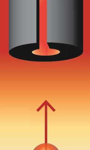 جذب الجسم الأسود بين أسطوانة تنغستين حارة وذرة سيزيوم أقوى بعشرين مرّة من الجذب الثقالي بينهما. حقوق الصورة: Holger Müller, UC Berkeley