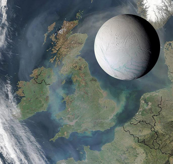 لمحة عن إنسيلادوس. مقاييسه: يبلغ قطر إنسيلادوس 314 ميلا فقط (505 كم)، وهو صغير بما يكفي ليعادل طول المملكة المتحدة. اكتشافه: عام 1789 مكتشفه: ويليام هيرشل William Herschel الحجم: يبلغ قطر إنسيلادوس 314 ميلا فقط (505 كم)، وهو صغير بما يكفي ليعادل طول المملكة المتحدة. المسافة عن الشمس: 9.5 وحدة فلكية AU (الأرض تبعد 1 وحدة فلكية). تم استكشافه عبر: مركبة فوياجر 1 و فوياجر 2 ومركبة كاسيني. الحالة العلمية: يعدّ اكتشاف محيط إنسيلادوس الشامل وقطع الجليد المنبثقة منه ودورها في تكوين حلقة زحل E أبرز اكتشافات بعثة كاسيني، كما اكتشفت كاسيني أيضاً الدلائل الأولى عن نشاط للماء الحار خارج الأرض، جاعلة من قمر زحل الصغير قِبلةَ أماكن البحث عن حياةٍ محتملة خارج حدود الأرض.