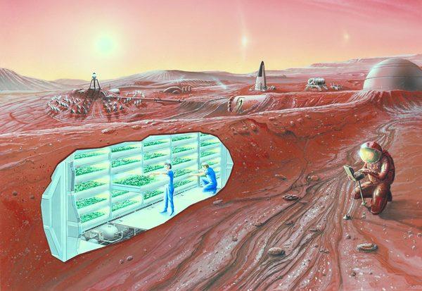 إظهار الفنان لاستيطان المريخ مع معاينة قطع في داخل الأرض