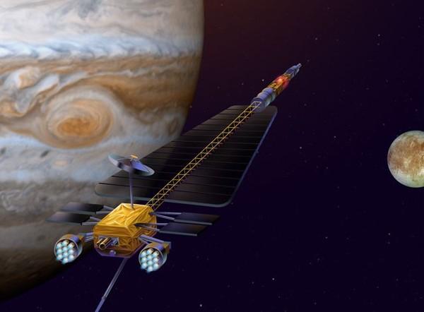 صورة فنية لمتتبع الأقمار المتجمدة للمشتري Jupiter Icy Moons Orbiter (JIMO)، وهو برنامج ملغي كان يفترض إرسال مركبة فضائية لتكتشف كاليستو وجانيميد ويوروبا. حقوق الصورة: NASA/JPL