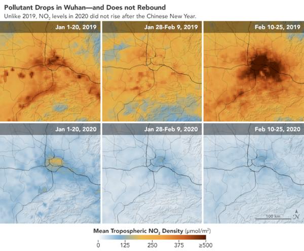 خريطة أخرى تظهر هبوطا حادا في الإنبعاثات فوق ووهان، هذه المدينة التي تعتبر بؤرة تفشي الفيروس (المصدر: مرصد الأرض التابع لناسا).