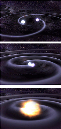 صور فنان عن الموجات الثقالية الناجمة عن زوجين من النجوم الضخمة المتصاعدة تجاه بعضها البعض، وفي النهاية يصطدمان، حقوق الصورة: NASA/Dana Berry, Sky Works Digital.