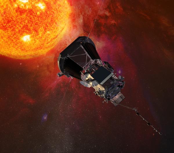 صورة توضيحية لمركبة باركر سولار بروب الفضائية وهي تقترب من الشمس) Credits: Johns Hopkins University Applied Physics Laboratory