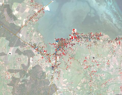 إحدى الخرائط التي وضعت للمناطق المتضررة بعد كارثة التسونامي الكبرى عام 2004. يمثل ذلك أحد الاستخدامات الأساسية للاستشعار عن بعد. المصدر: DLR/DFD/ZKI