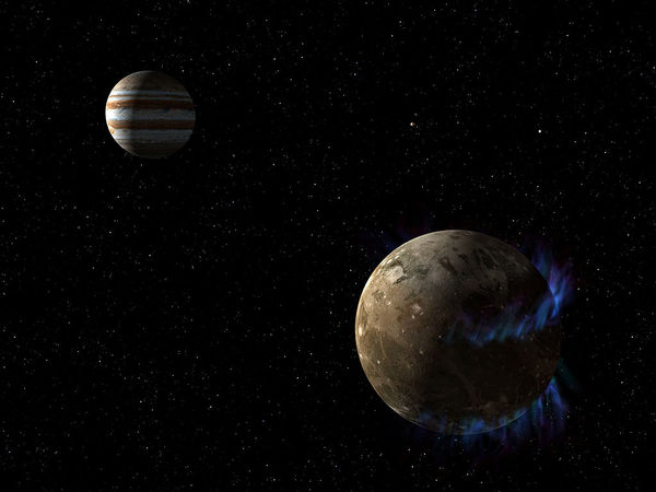 صورة فنية للشفق القطبي لجانيميد. حقوق الصورة: NASA/ESA