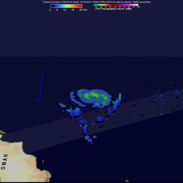 صورة من مرصد GPM ثلاثية الأبعاد للأمطار وارتفاع السحب لزوبعة تشابالا في 29 أكتوبر في الساعة 10:56 صباحاً، وجدت هطولاً للأمطار 31.9 ملم (1.3 إنش) في الساعة. وصل علو السحب لـ15 كم (9.3 ميل) في الحزام المغذي feeder band ولكن معظم ارتفاعات العواصف كانت أقل بكثير. حقوق الصورة: NASA/JAXA/SSAI, Hal Pierce