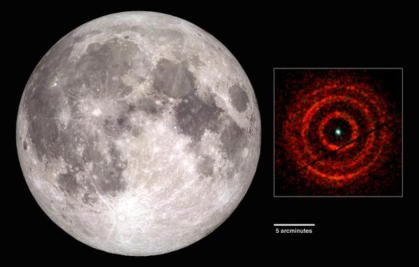تغطي صورة سويفت بالأشعة السينية للمنظومة V404 Cygni رقعةً من السماء تعادل نحو نصف القطر الظاهري للقمر البدر. وتبيّن هذه الصورة الحلقات كما ظهرت في 30 يونيو/حزيران. المصدر: ستوديو التصوير العلمي ناسا (على اليسار)، أندرو بيردمور (جامعة ليستر) NASA/سويفت (على اليمين).