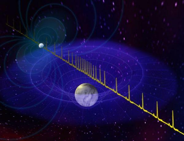 رسم توضيحي يُظهر كيف تأخر النبض الصادر من النجم النيوترون الضخم المسمى J0740+6620 بسبب مرور نجم قزم أبيض بينه وبين والأرض. حقوق الصورة: B. Saxton/NRAO/AUI/NSF