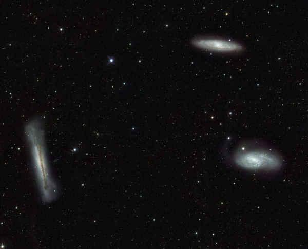 تبين هذه الصورة ثلاثية الأسد المجرية في كوكبة الأسد، بالإضافة لحشدٍ من الأجسام الأخرى الأكثر خفوتاً: والتي تُمثل مجراتٍ بعيدةً في خلفية الصورة ونجوماً أقرب بكثير داخل مجرة درب التبانة. تُظهر هذه الصورة مدى قوة تلسكوب المسح الفلكي الكبير VST المزود بكاميرا أوميجا OmegaCAM والمخصص لإجراء عمليات مسحٍ للكون خارج مجرة درب التبانة، بالإضافة لرسم خريطةٍ مفصلةٍ للأجسام ذات السطوع المنخفض وللهالة المجرية.  حقوق الصورة: ESO/INAF-VST/OmegaCAM. Acknowledgement: OmegaCen/Astro-WISE/Kapteyn Institute