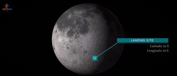 موقع الهبوط المستهدف لمهمة شاندرايان -2 الهندية لاستكشاف القطب الجنوبي للقمر. حقوق الصورة: Indian Space Research Organisation