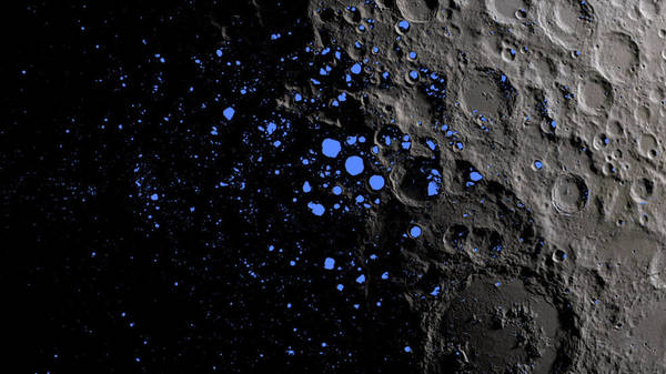 هذه الخريطة تُظهر المناطقَ دائمة الظل (باللون الأزرق) والتي تغطي ثلاثةً بالمئة من مساحة القطب الجنوبي للقمر تقريبًا. Credits: NASA Goddard/LRO mission.