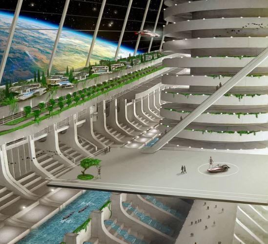رؤية من داخل مستعمرة فضائية صُوِّرَتْ لأمة أسغارديا المزمع إقامتها في الفضاء. حقوق الصورة: James Vaughan/Asgardia.
