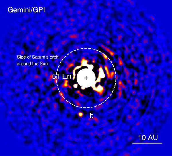 تُوضح هذه الصورة التي التقطتها أداة جيميني لتصوير الكواكب بالأشعة ما تحت الحمراء بتاريخ 21 ديسمبر/كانون الأول 2014 اكتشاف كوكب 51 إيريداني بي الخارجي. وقد أُزيلَ النجم الساطع الواقع في منتصف الصورة لكي يُصبح بالإمكان رصد الكوكب الذي يقل سطوعه عن سطوع النجم بملايين المرات.  حقوق الصورة: مرصد جيميني وجيه راميو (جامعة مونتريال) وسي. ماروا، المجلس الوطني للبحوث، هيرزبيرغ