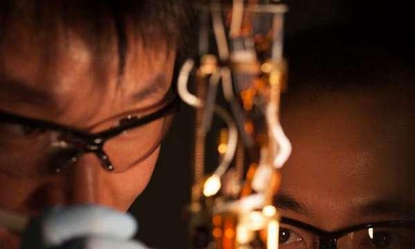 باحث في مرحلة ما بعد الدكتوراة من جامعة ستانفورد يونغتاو كوي Yongtao Cui  (جهة اليسار)، والطالب المتخرج إيريك يو ما، مع جهاز ممانعة الأمواج الميكروية المجهرية (Microwave Impedence Microscopy MIM) المستخدم في الدراسة.  حقوق الصورة: يونغتاو كوي/ جامعة ستانفورد
