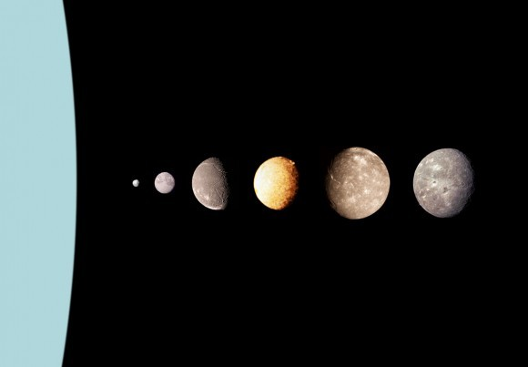 (مونتاج لأقمار زحل من اليسار حتى اليمين حيث آرييل، حقوق الصورة: NASA)