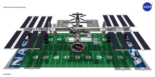 طول وعرض محطة الفضاء الدولية بحجم ملعب كرة قدم. الملكية: ناسا.