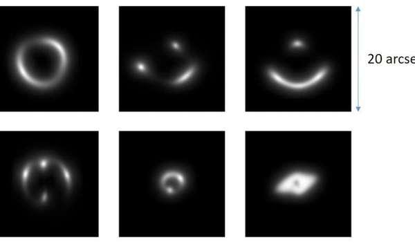 تظهر هذه الصورة عينة من صور يدوية الصنع للعدسات الثقالية التي استخدمها علماء الفلك لتدريب شبكتهم العصبية. حقوق الصورة: إنريكو بيتريللو، جامعة غرونينغن. Credit: Enrico Petrillo, University of Groningen