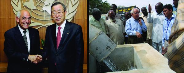مع بان كي مون Ban Ki-Moon في الأمم المتحدة، وخبراء الماء المحليين في دارفور.