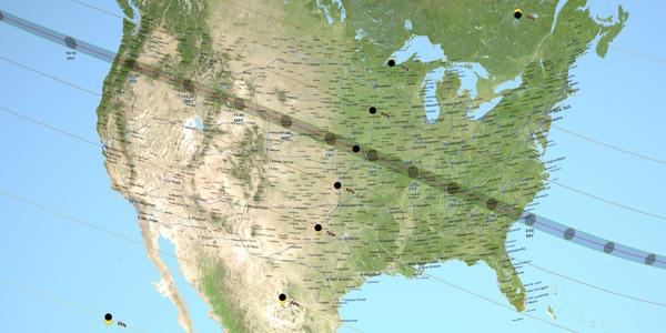 توضح هذه الخريطة صورة لظل القمر عند عبوره فوق الولايات المتحدة في 21 آب/أغسطس 2017 خلال الكسوف الكلي الشمسيّ