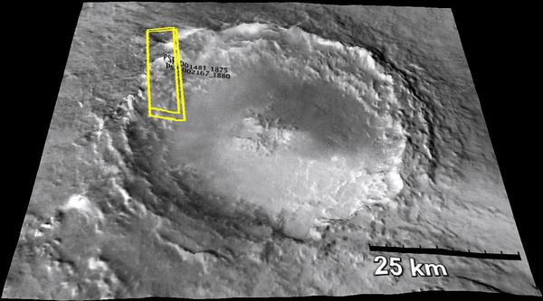 فوهة موجافي Mojave Crater على المريخ، حيث يعتقد أن بعض النيازك المريخية التي وجدت على الأرض قد جاءت من هنا.