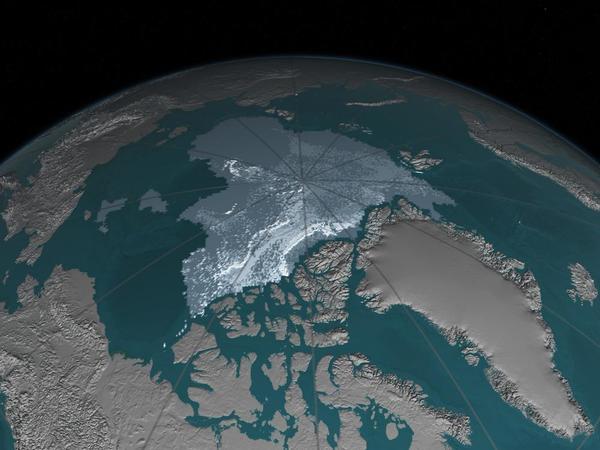قلت المساحة التي يغطيها جليد بحر القطب الشمالي الذي لا يقل عمره عن أربع سنوات من 718000 ميل مربع في سبتمبر/أيلول 1984 إلى 42000 ميل مربع في سبتمبر/أيلول 2016. يميل الجليد الأقدم إلى أن يكون أقل عرضة للذوبان. ويشار إلى عمر الجليد من خلال الظلال التي تتراوح بين اللون الأزرق-الرمادي للجليد الأقل عمراً واللون الأبيض للأكثر عمراً. حقوق الصورة: ناسا)