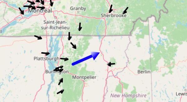 خريطة تابعة لناسا تظهر المسار التقريبي للنيزك فوق ولاية فيرمونت في 7 آذار/مارس 2021. (مصدر الصورة: NASA Meteor Watch)