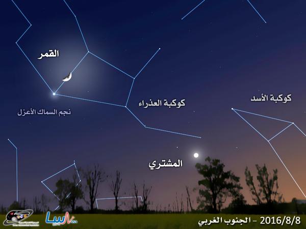 اقتران القمر مع نجم السماك الأعزل (Spica)