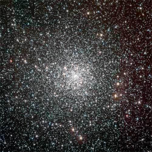 ترجمة الصورة الواردة في المقال: العنقود الكروي (NGC 6397) يحوي نحو 40 ألف نجم، ويبعد نحو 7200 سنة ضوئية عن كوكبة آرا الجنوبية (southern constellation Ara). بعمرٍ يُقدر بنحو  13.5 بليون سنة، فمن المرجح أنها من بين الأجسام التي تشكَّلت في المجرة بعد الانفجار العظيم.  تعود ملكية الصورة للمرصد الجنوبي الأوروبي