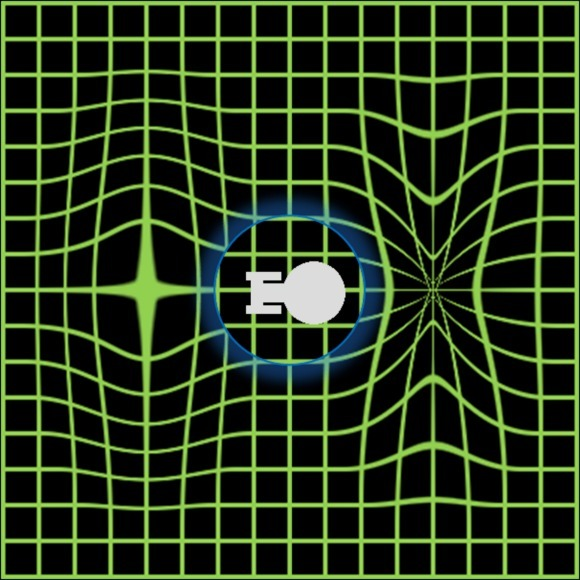 تصورٌ لحقل انحناء. تستقر المركبة في فقاعة من الفضاء غير المتغير، بينما ينقبض ما يتقدمها ويتمدد ما يعقُبها.<br /> Image credit: Trekky0623.