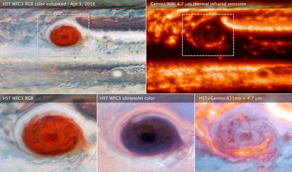"""صورة توضح جميع عمليات رصد البقعة الحمراء العظيمة لكوكب المشتري، والتي اشترك فيها كل من تليسكوب هابل الفضائي ومرصد جيميناي في آن واحد. تم جمع هذه البيانات يوم 1 نيسان/أبريل 2018 خلال التحليق الثاني عشر لجونو عند نقطته الأقرب """"Perijove"""" يُظهر الجانب الأيسر (العلوي والسفلي) من الصورة البقعة الحمراء في الضوء المرئي بعيون هابل، بينما ظهرت في أعلى اليمين من خلال مرصد جيميناي الذي نسق المناطق الساطعة من الأشعة تحت الحمراء مع المناطق الداكنة التي تم رصدها في الضوء المرئي.  حقوق الصورة: (NASA, ESA, and M.H. Wong (UC Berkeley) and team)"""