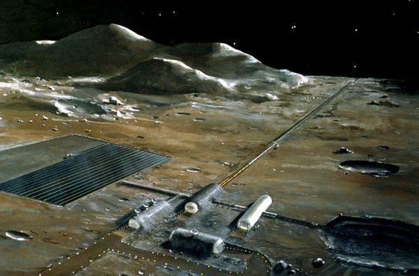 قاعدة قمرية، كما تخيلتها ناسا في سبعينيات القرن الماضي. Image Credit: NASA