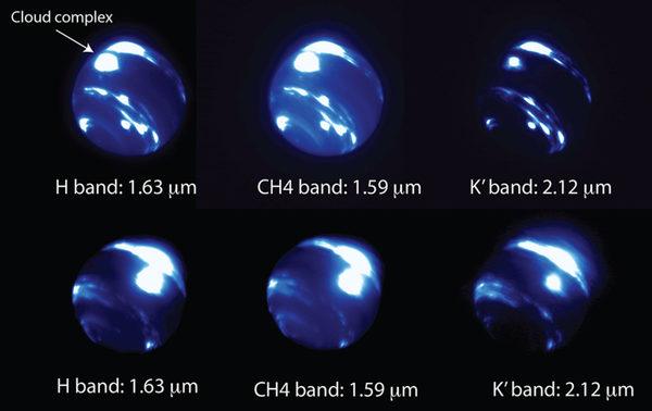 صور لنبتون، الحزمة العلوية كانت في 26 حزيران/ يونيو، والسفلية كانت في 2 تموز/ يوليو، حيث تكشف هذه الصور نظام العاصفة المتوهجة بالقرب من خط الاستواء لنبتون، وتُدعَى بمجموعة السحب في الشكل العلوي). حقوق الصورة:Ned Molter & Imke de Pater, University of California, Berkeley / C. Alvarez, W. M. Keck Observatory.