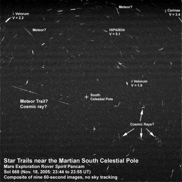 """صورة: صورة سماء ليلية التقطت بواسطة المركبة الفضائية """"سبيريت"""" سنة 2005 تشير إلى ظهور نجوم و سمات أخرى. حقوق الصورة: (NASA/JPL-Caltech/Cornell/Texas A&M/SSI)"""