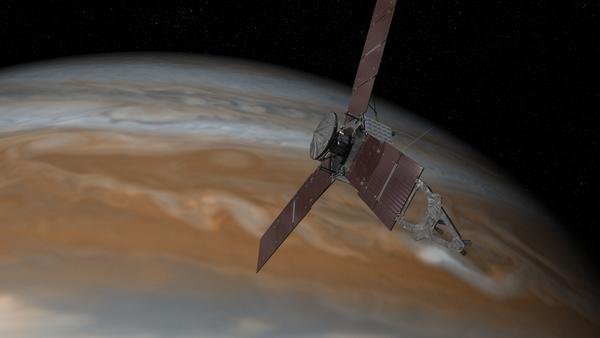 تظهر هذه الصورة المتخيلة مركبة جونو التابعة لوكالة الفضاء الأمريكية ناسا وهي تحلق قريباً من كوكب المشتري. حقوق الصورة: ناسا / مختبر الدفع النفاث - معهد كاليفورنيا للتكنولوجيا<br /> Credits: NASA/JPL-Caltech