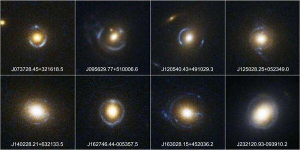 أمثلة على عدسات الجاذبية لحلقة أينشتاين عبر تلسكوب هابل الفضائي. (حقوق الصورة: NASA/ESA/SLACS Survey Team: A. Bolton (Harvard/Smithsonian), S. Burles (MIT), L. Koopmans (Kapteyn), T.Treu (UCSB), L. Moustakas (JPL/Caltech))