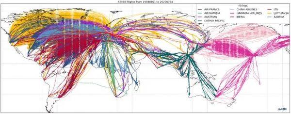 أجرت منظمة إياغوس عمليات رصد عالمية لتركيبة الغلاف الجوي. في دراسة جديدة، استخدم الباحثون بيانات إياغوس التي جمعتها الطائرات التجارية لقياس مستويات الأوزون. (حقوق الصورة: IAGOS)