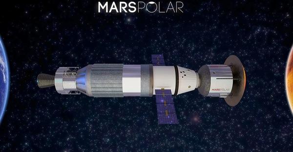 رسم فني لعربة النقل المريخية (Mars Transportation Vehicle). المصدر: MarsPolar.