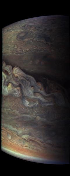 تُهيمن موجات السحب الموجودة على خط عرض 37.8 درجة على هذه الصورة المُلتقطة من قبل مركبة جونو لملامح سحب المُشتري ثلاثية الأبعاد. حقوق الصورة: NASA/SWRI/MSSS/Gerald Eichstadt/Sean Doran