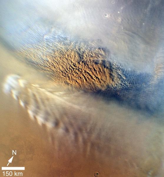 صورة مكبّرة لعاصفة رملية على المريخ