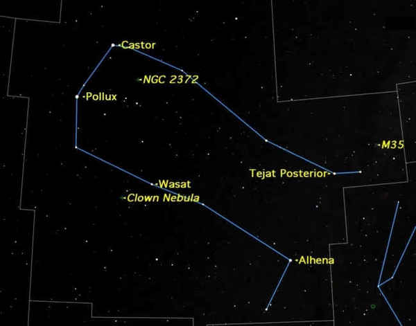 الجوزاء هي كوكبة عالية في سماء فصل الشتاء، تتضمن عدداً من أهداف الرصد المثيرة للاهتمام. حقوق الصورة: Starry Night Software