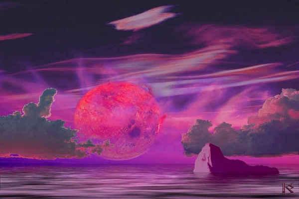 انطباع فني لشروق الشمس من على سطح الكوكب الشبيه بالأرض Gliese 581c، الذي يقع في المنطقة القابلة للحياة التابعة لنجمه القزم الأحمر. حقوق الصورة: Karen Wehrstein