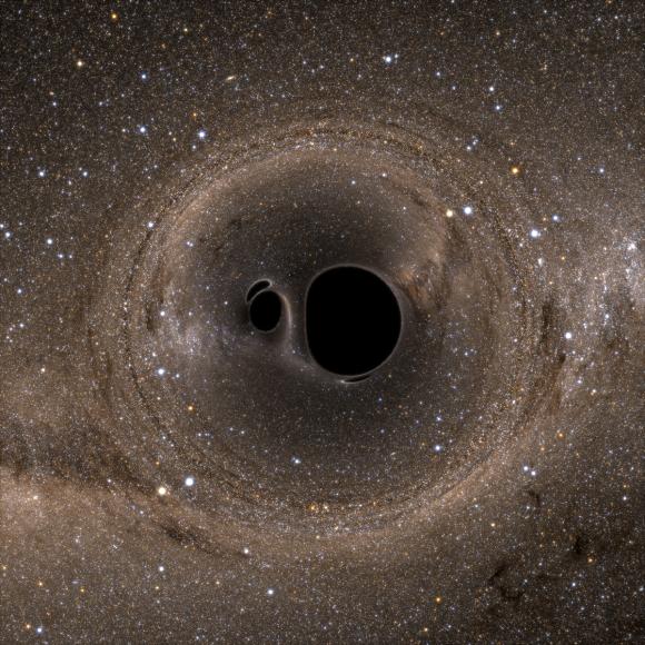 منظومة مزدوجة مؤلفة من ثقبين أسودين كما تشاهد من الأعلى. المصدر: Bohn et al.