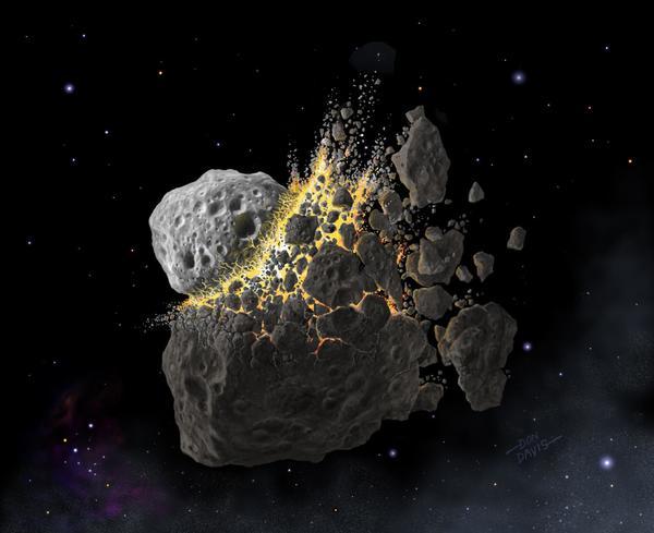 صورة فنية للاصطدام الفضائي الذي حدث قبل 466 مليون سنة، و الذى أفسح المجال للعديد من النيازك المتساقطة اليوم، حقوق الصورة: © Don Davis, Southwest Research Institute