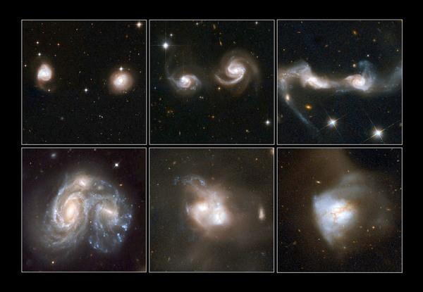 تُظهر الصور أمثلة على المجرات المندمجة. Credit: NASA, ESA, the Hubble Heritage Team (STScI/AURA)-ESA/Hubble Collaboration and A. Evans (University of Virginia, Charlottesville/NRAO/Stony Brook University), K. Noll (STScI),