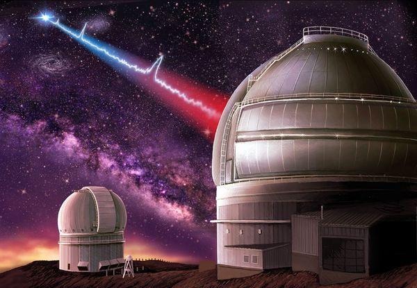 استُخدم تلسكوب جيميني في هاواي لرصد المجرة القزمة الحاضنة لمصدر الإشارة. حقوق الصورة: Danielle Futselaar